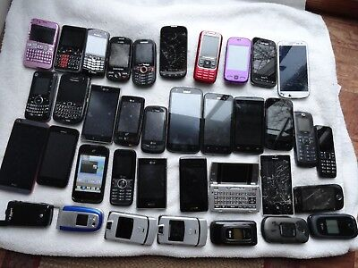 Lot of 37 Cell Phones for Scrap Gold Metal Recovery