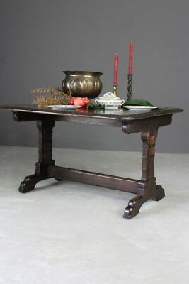 Antique Victorian Gothic Style Oak Dining Table