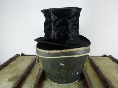 Antique French Collapsible Black Silk Top Hat & Hat Box Size UK 6 1/2 / 53cm