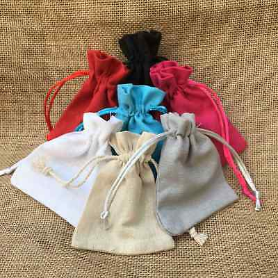 7 Colors Wedding Favor Drawstring Cotton Jute Linen Jewellery Pouch Gift Bags