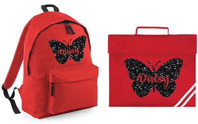 Personalised Butterfly Name Rucksack and Book Back Set Backpack Back to School