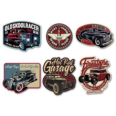 HOT ROD Laminated Sticker Set Vintage Retro Custom Car Classic Toolbox Decal