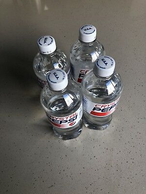 Four (4) Bottles of 2017 CRYSTAL PEPSI - 20oz bottles RARE LIMITED EDITION