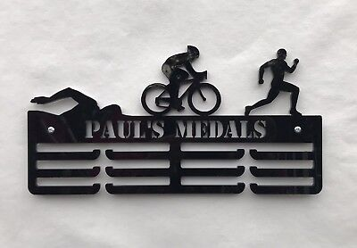THICK 5mm Acrylic Personalised Male Triathlon 3Tier Medal Hanger / Medal Holder