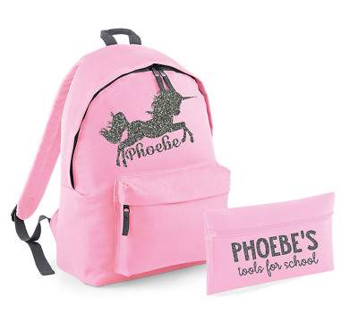 Personalised Name Unicorn Rucksack and Pencil Case Set Backpack Back to School