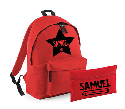 Personalised Name Star Rucksack and Pencil Case Set Backpack Back to School