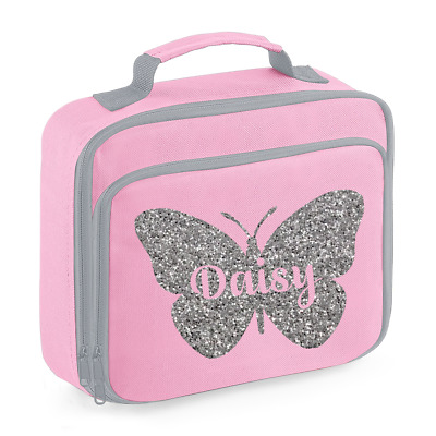 Personalised Name Butterfly Lunch Box Bag Back to School Bags Custom Bag