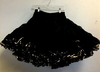 Square Dance Petticoat,  Shimmery Black, Gold Trim, M/l, Very Full, Awesome