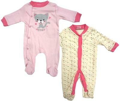 Girls Sleepsuits 2 Pack Cutie Cat All in One Rompers Newborn Baby to 9 Months