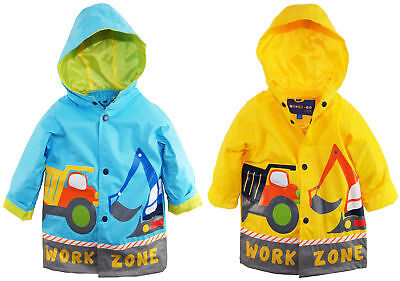 Wippette Toddler Boys Waterproof Construction Trucks Raincoat Jacket Slicker