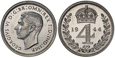 GR BRITAIN  George VI. 1944 AR Maundy set . PCGS PL65-66. SCBC-4086.