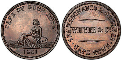 SOUTH AFRICA. 1861 AE Halfpenny Token. PCGS MS63BN. Hern 662a. Rare quality.