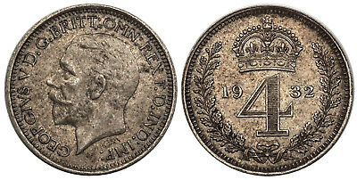 GR BRITAIN  George V. 1932 AR Maundy Set. Choice About Uncirculated.
