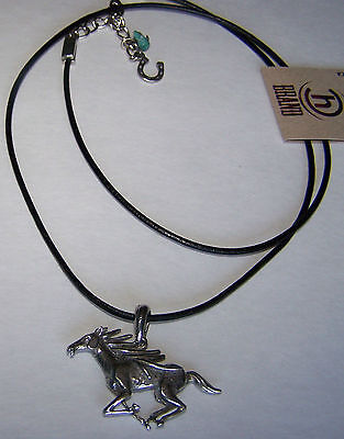 Wild/Running Horse Lead-Free Pewter Pendant Necklace Horseshoe Handcrafted USA