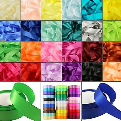 50m Quality Reels of Coloured Satin Ribbon Wedding Rolls all Widths Double Sided