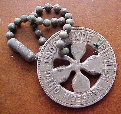 Aluminum Lucky Token 4 Leaf Clover Wauseon Ohio 1908 With Vaughan Chain