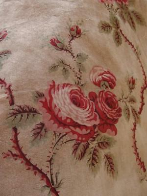 Morceau of Antique French Printed Cotton Fabric Trailing Roses Textile c 1800s