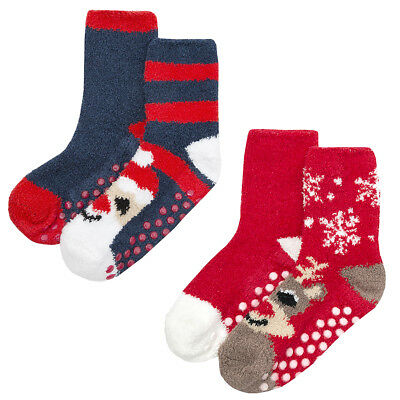 Childrens Boys Girls Kids Novelty Christmas Socks Cosy Grippers Xmas 4 Pairs New
