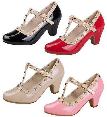 Girls Low Block Heel Party Shoes Faux Leather Studded T Bar Mary Janes Kids Size