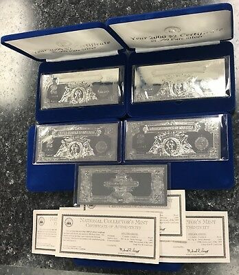 Lot Of (5) Year 2000 ~ 1899 $2 Silver Plated .999 Certificates Large Size! Nr!