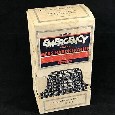 Lot 24 Vintage Boxed Emergency Brand Men's Handkerchiefs Display Box 10 Cents ea