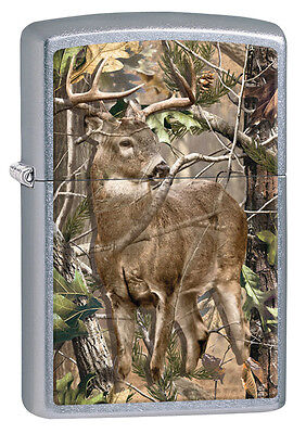 """Zippo Lighter """"Real Tree - Deer in Wood"""" No 29310 on street chrome finish - New"""
