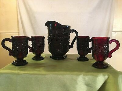 Vintage Avon 1876 Cape Cod Ruby Red Coffee Mug and Pitcher Set