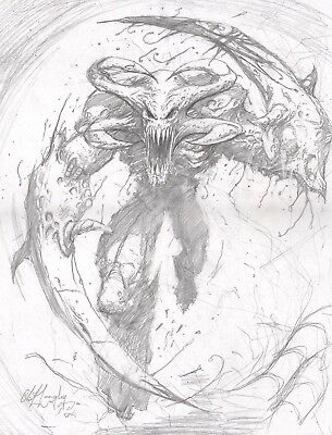 Alien Creature Original Hand Drawn Art Clint Langley