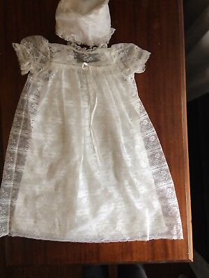 vintage christening baby gown 6-9 Months Lace With Bomnet