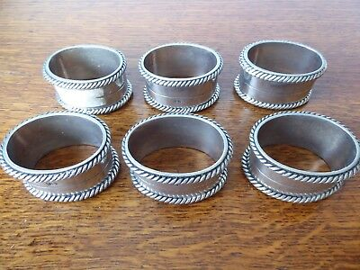 Vintage Set Of 6+3 Napkin Rings Heavy Items Marked 95%. Assumed White Metal