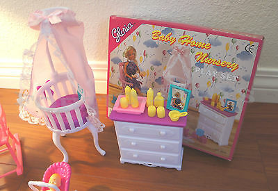 Gloria Dollhouse Furniture Size Baby Home Nursery W/chair Playset For Barbie