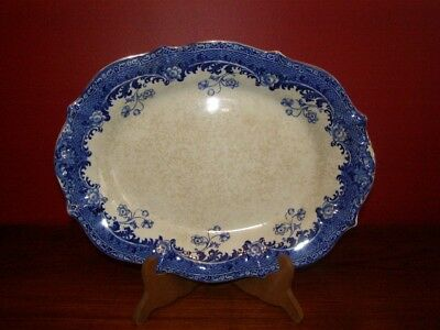 Antique Semi-Porcelain Dudson Wilcox & Till 'Conco' Blue & White Platter
