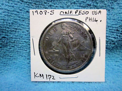 1907-S Philippines - U.s. Admin One Peso Silver Coin Km#172 In Uncleaned Cond.