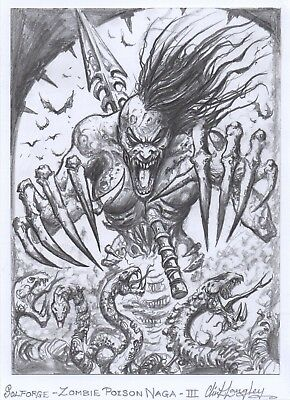 Solforge Zombie Poison Naga 3 Original Hand Drawn Art Clint Langley