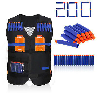 Costume  Kids Elite Tactical Vest Jacket 200pcs Foam Darts For Nerf Gun N-Strike