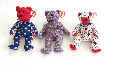 Lot of 3 TY Beanie Babies Patriotic Red White Blue RED, LIBERTY, & USA
