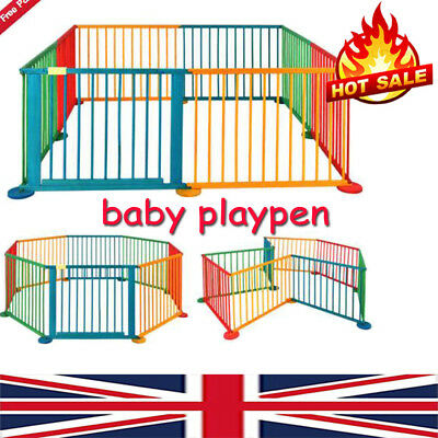 Baby Kid Child Toddler Wooden Foldable Play Pen Room Divider Yard Safety+ UK AA+