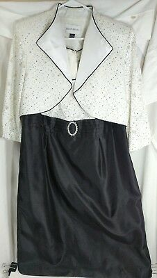 David's Bridal Mother of the Bride Dress 18W White and Black w/ Sequins