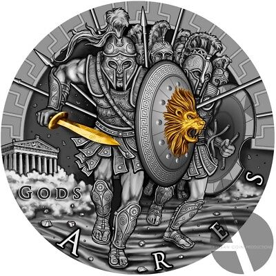 2017 Silver Coin $2 Niue Island ARES God of War series GODS Gold plated 2 oz