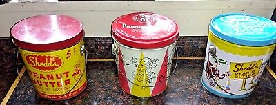 1960s Tin SHEDD'S and SWIFT'S Peanut Butter 5-Lb WIZARD OF OZ lot of 3