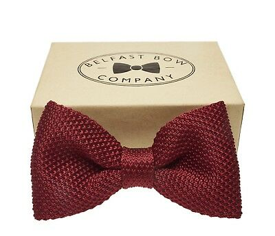 Handmade Knitted Bow Tie in Burgundy Red Gift Boxed