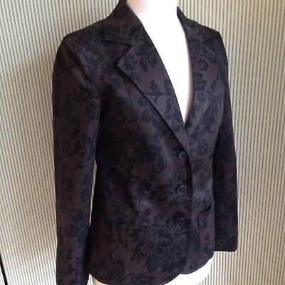 Excellent Laura Ashley Black Brown Floral Blazer Jacket Size 10