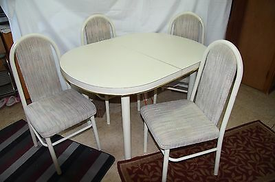 Vintage White with Gold Trim Kitchen Table  and 4 Cha