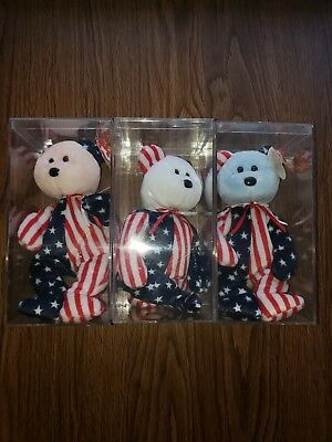 Set of 3 SPANGLE TY Beanie Baby Patriotic Bears Red, White, and Blue Faces