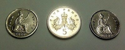 Metal Detecting Finds, 2 Real Silver Four Pence Coin, In Nice Condition..