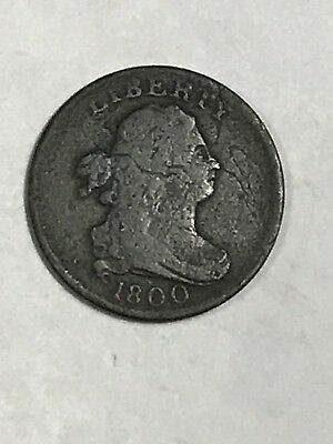 1800 Draped Bust Half Cent, VG detail
