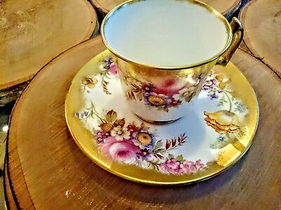 Royal Chelsea Bone China Cup And Saucer Wild Flowers Heavy Gold Cheerful Set!!