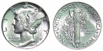 1944 Mercury 90% Silver Dime Fine or better. Ships Free.
