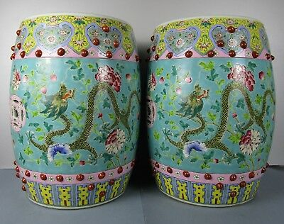Perfect Chinese 19Th Century Vibrant Color Dragons Famille Rose Seat Garden