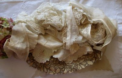 Large Antique Lot Of 12 Embroidered Cotton Lace Collars~Dress Trims~Metallic
